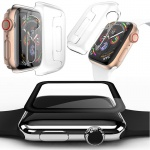 Full Curved 4D 0, 3 Hartglas H9 + Silikon Hülle Tasche für Apple Watch 4. Gen 44