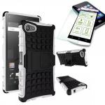 Hybrid Case Weiß für Sony Xperia Z5 Compact 4.6 Zoll + 0.3 H9 Hartglas Tasche