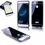 Alu Bumper 2 teilig Schwarz + 0, 3 H9 Hartglas für Huawei P9 Tasche Case Hülle