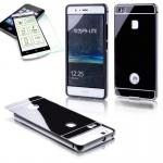 Alu Bumper 2 teilig Schwarz + 0, 3 H9 Hartglas für Huawei P9 Lite Tasche Hülle