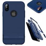 Original ROCK Silikon Case Tasche Schwarz / Blau für Apple iPhone X / 10 Hülle