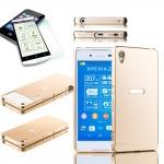 Alu Bumper 2 teilig Gold + 0, 3 H9 Hartglas für Sony Xperia Z3 Plus E6553 Hülle