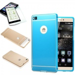 Alu Bumper 2 teilig Blau + 0, 3 mm H9 Panzerglas für Huawei Ascend P8 Tasche Case
