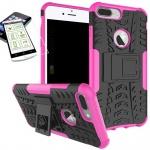 Hybrid Tasche Outdoor 2teilig Pink für Apple iPhone 8 7 Plus 5.5 Hülle + Glas