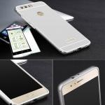 Alu Bumper 2 teilig Silber + 0, 3 H9 Hartglas für Huawei Honor 8 Tasche Hülle