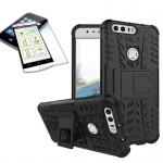 Hybrid Case Tasche Outdoor 2teilig Schwarz für Huawei Honor 8 + Panzerglas Cover