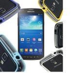 Bumper Hybrid Hülle Case für Samsung Galaxy S4 Active i9295 + Displayschutzfolie