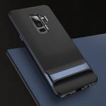 Original ROCK Silikon Case Tasche Schwarz / Blau für Samsung Galaxy S9 Plus Neu