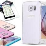 Alu Bumper 2 teilig Silber + 0, 3 mm H9 Hartglas für Samsung Galaxy S6 G920F
