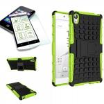 Hybrid Case 2 teilig Grün für Sony Xperia Z5 5.2 Zoll + 0, 3 H9 Hartglas Tasche