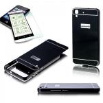 Alu Bumper 2 teilig Schwarz + 0, 3 mm H9 Hartglas für Huawei Y6 Hülle Tasche