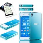 Alu Bumper 2 teilig Blau + 0, 3 H9 Hartglas für Sony Xperia Z3 Plus E6553 Hülle