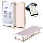 Alu Bumper 2 teilig Gold + 0, 3 H9 Hartglas für Sony Xperia Z5 Compact 4.6 Case