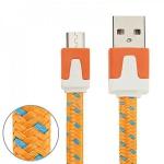 2m USB Daten und Ladekabel Orange für alle Smartphone und Tablet Micro USB Neu