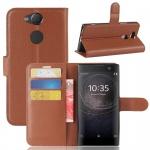 Tasche Wallet Premium Braun für Sony Xperia XA2 Hülle Case Cover Schutz Etui Neu