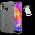 Für Apple iPhone XR 6.1 Tasche Shield TPU Silikon Hülle Grau + H9 Glas Case Neu
