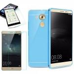 Alu Bumper 2 teilig Blau + 0, 3 mm H9 Hartglas für Huawei Mate 8 Tasche Case