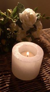 Salzlampe Teelichthalter Zylinder weiss