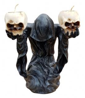 Deko-Figur Geist Umhang mit 2 Teelichtern und Totenköpfen Gothic Mystik Fantasy - Vorschau 1