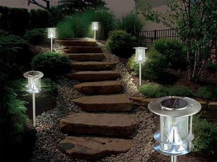 5er-Set Edelstahl Solarlampe, Außenlampe, Wegeleuchte, je 6 helle Power LEDs