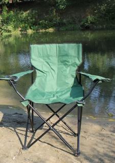 Faltstuhl Angelstuhl Campingstuhl mit Armlehne und Getränkehalter grün