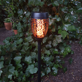 LED Solarfackel Gartenfackel mit flackerndem Flammeneffekt Gartenleuchte Deko