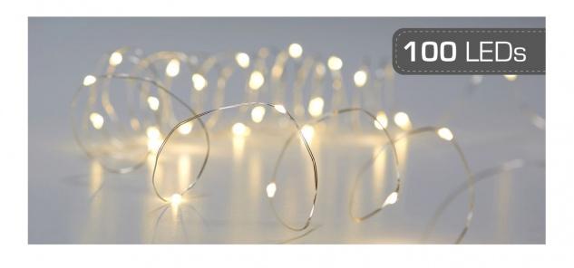 Micro LED Draht Lichterkette mit 100 LEDs Timerfunktion Indoor Batteriebetrieb