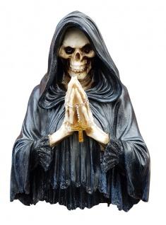 Wanddeko Skelett betend mit RGB und Kreuzkette Dekofigur Deko Bild Wandbild 3D