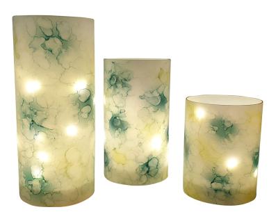 Windlichter 3 Stück marmorierte Optik mit Micro-LED-Lichterkette Timerfunktion