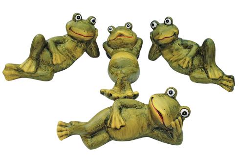 Dekofiguren Frösche 4 Stück lustige Gartendeko Tierfiguren liegend 23 cm lang