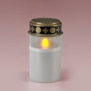LED-Grablicht, weiß, Grabkerze, Ewiges Licht, mit Flackereffekt, inkl. Batterien