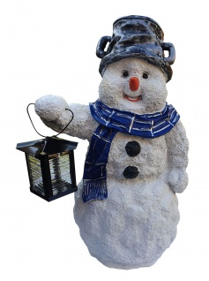Dekofigur Schneemann mit Topf und Metall Laterne Winter Weihnachtsdekoration