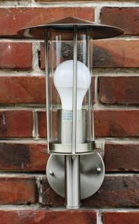 Außenlampe Edelstahl mit LED Leuchtmittel 9 Watt Außenleuchte Wandlampe NEU