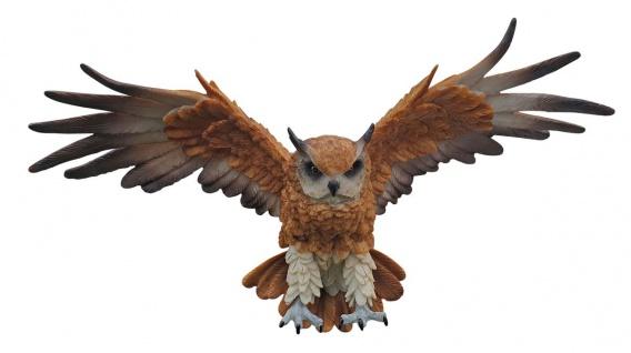 Dekofigur Eule fliegend Wanddeko 3D Tierfigur Greifvogel Uhu Vogeldeko Garten