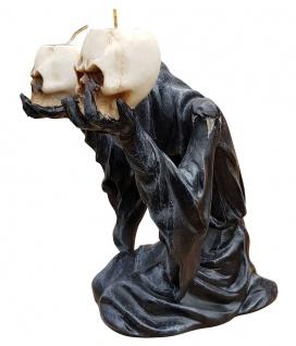 Deko-Figur Geist Umhang mit 2 Teelichtern und Totenköpfen Gothic Mystik Fantasy - Vorschau 2