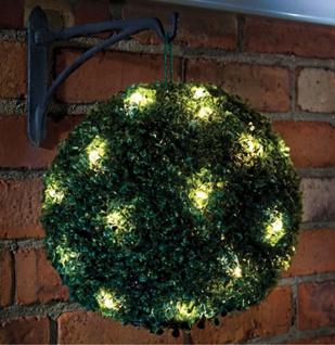 LED Solar Buchsbaum Kugel mit 20 warmweißen LEDs, beleuchtete Buchskugel Ø 20 cm - Vorschau 1