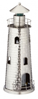 Flaschenhalter Weinflaschenhalter Metall maritime Deko Leuchtturm Geschenk Figur