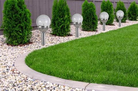 8er Set Kristallglas Premium Solarlampe Leuchte LED Edelstahl Gartenkugel - Vorschau 2