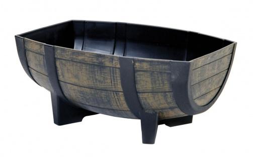 Pflanzkübel Fass Blumenkübel Weinfass-Optik Kunststoff halbiert 41, 5x29, 5x18, 5cm