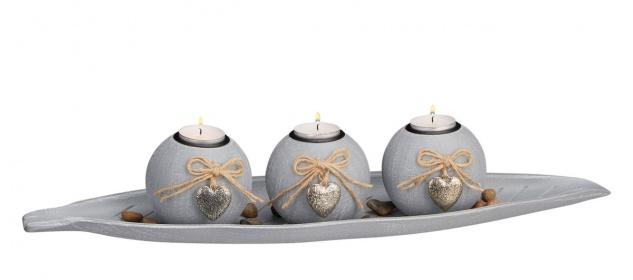 Advent Kerzenhalter Deko Holztablett mit 4 Teelichthaltern aus Glas 30 x 9 cm