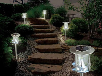 5er-Set Edelstahl Solarlampe, Außenlampe, Wegeleuchte, je 6 helle Power LEDs - Vorschau 1