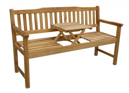 Massive Sitzbank 3er Gartenbank Parkbank mit Tisch klappbar Akazie FSC