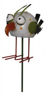 Niedlicher Gartenstecker Vogel, Metall, weiß, Gartendeko, Tierfigur, 98 cm