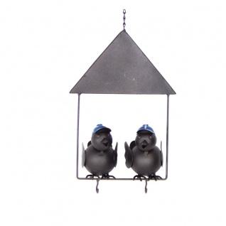 Dekohänger 2 Vögel im Haus 17x10x61 cm Metall Meisenknödel Futterstation