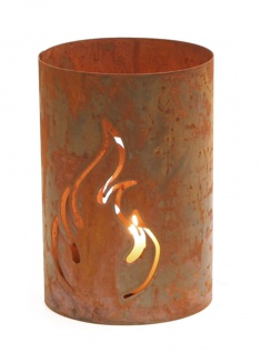 Windlicht Flamme Naturrost H 30 cm Ø 20 cm Kerzenhalter Rost-Optik Dekoration
