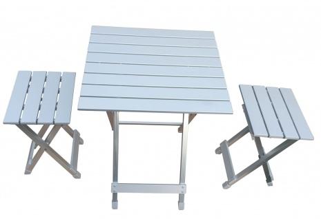 Alu Camping Set 3-teilig Klapptisch Klapphocker stabile Möbel Indoor Outdoor
