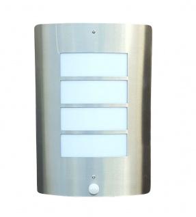 Wand-Außenleuchte mit Bewegungsmeldung Edelstahl mit LED Energiesparlampe 9 Watt