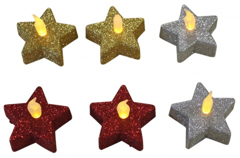 LED Teelichter Stern 6er Set Glitzer Weihnachtsdekoration rot silber gold