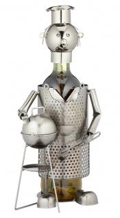 Flaschenhalter Weinflaschenhalter Metall Skulptur Deko Grillmeister Figur