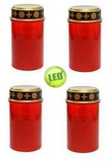 4er Set Grablichter rot LED Kerze Grabkerze Ewiges Licht Flackereffekt Grablicht